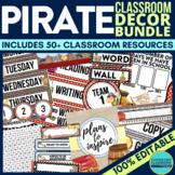 PIRATE THEME Classroom Decor - EDITABLE Clutter-Free Class
