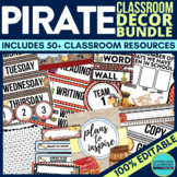 PIRATE CLASSROOM THEME DECOR BUNDLE editable pirate themed classroom decor