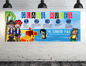PIRATE kids - Class Decor: LARGE BANNER, Class Rules, Whole Brain Teaching Rule