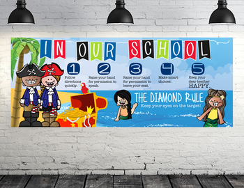 PIRATE kids - Class Decor: LARGE BANNER, School Rules, Whole Brain Teaching Rule