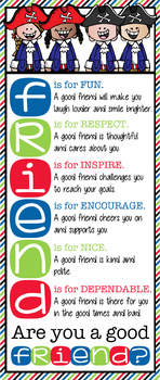 PIRATE kids - Classroom Decor: LARGE BANNER, Friend, Are You a Good Friend