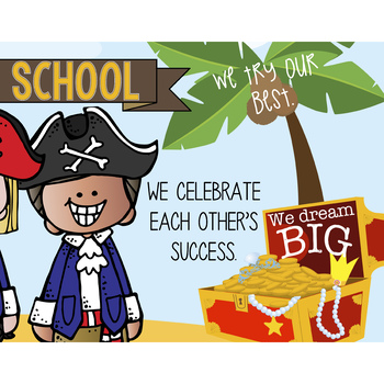 PIRATE kids - Classroom Decor: LARGE BANNER, In Our School - horizontal