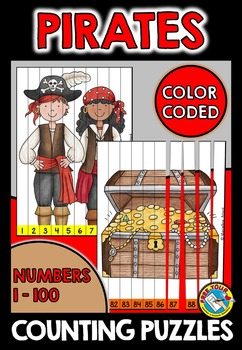 PIRATES COUNTING PUZZLES: NUMBERS 1 TO 100: PIRATE THEME MATH CENTER