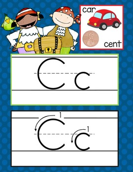 PIRATES - Alphabet Cards, Handwriting, ABC Flash Cards, ABC print with pictures