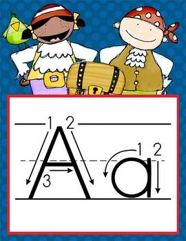 PIRATES - Alphabet Flag Banner, handwriting, A to Z, ABC p