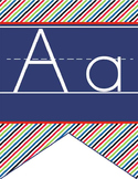 PIRATES - Alphabet Flag Banner, handwriting, A to Z, ABC print font
