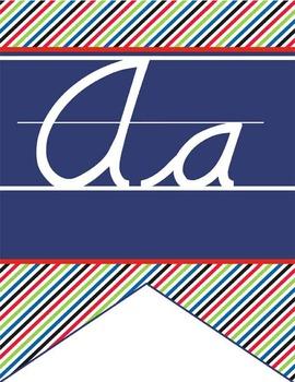 PIRATES - Alphabet Flag Banner, handwriting, A to Z, D'Nealian cursive