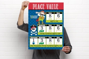 PIRATES - Classroom Decor: Place Value Chart - size 18 x 24