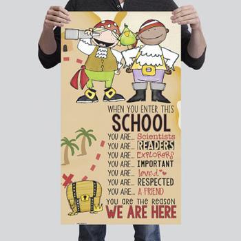 PIRATES - Classroom Decor: SMALL vertical BANNER, When you enter this school ...