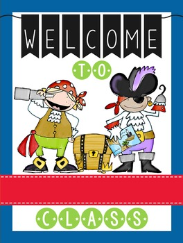 PIRATES - Classroom Decor: WELCOME Poster - 18 x 24, you personalize, Design B