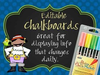 PIRATES - Classroom Decor: editable chalkboard  POSTERS /