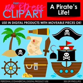 PIRATES Clipart Plus Digital Papers BUNDLE
