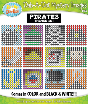PIRATES Dab-A-Dot Mystery Images Clipart {Zip-A-Dee-Doo-Dah Designs}