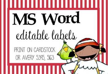 PIRATES - Labels, MS Word, editable
