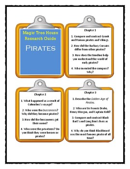 PIRATES Magic Tree House Research Guide - Discussion Cards