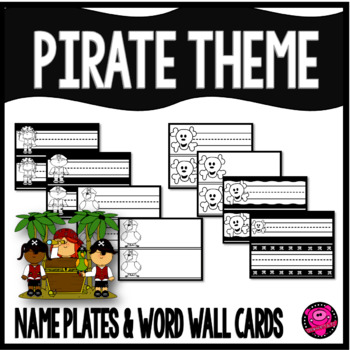 Pirates Black and White Name Plates and Word Wall Cards