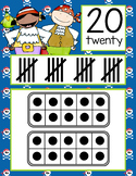 PIRATES - Number Line Banner, 0 to 20, Illustrated, ten frames, tally marks