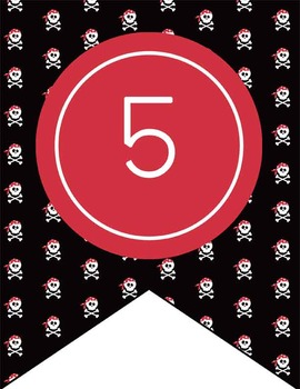 PIRATES - Number Line Banner, 1 to 25, EDITABLE to continue