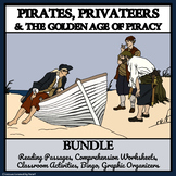 PIRATES AND PRIVATEERS BUNDLE - Reading Comprehension, Activities, and Bingo