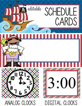 PIRATES - Schedule Cards, EDITABLE