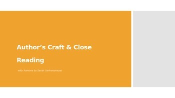 Author's Craft & Close Reading with Creative Writing Asignment