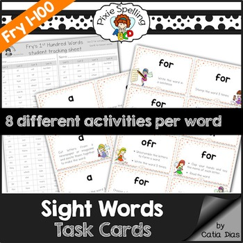 Sight Words Task Cards - Fry 1 to 100