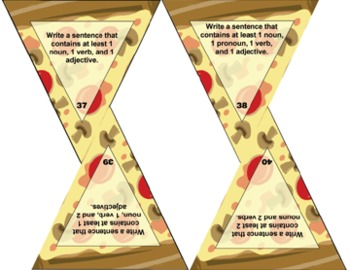 PIZZA! PIZZA! PARTS OF SPEECH TASK CARDS (80 slices)  Grades 2-3