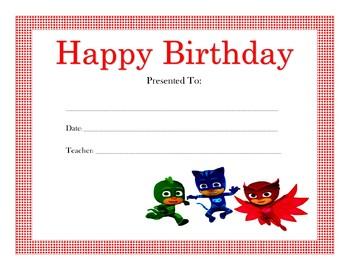 PJ Masks Birthday Certificates (Includes 4 Certificates)