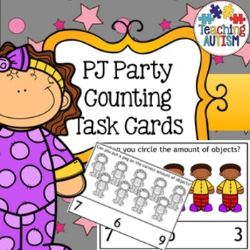 PJ Sleepover Party Counting Task Cards