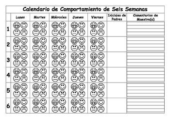 PK-2 Behavior Sheet for 6 Weeks (Spanish) Calendario de Comportamiento