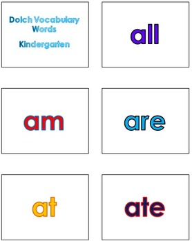 PK - 2nd Grade Dolch Vocabulary Sight Words PowerPoint and Flash Cards #1