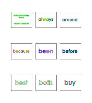 PK - 2nd Grade Dolch Vocabulary Sight Words PowerPoint and Flash Cards #2