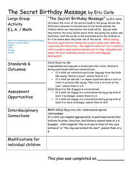 Pre-k / K Math Lesson Plans aligned with teaching Strategies GOLD objectives