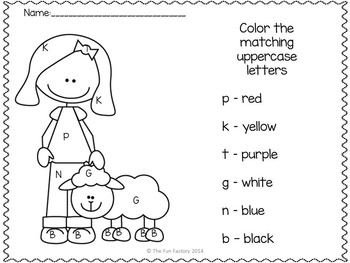 Letter and Word Work PK K Nursery Rhyme Themed