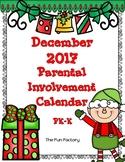 PK/Kindergarten  Homework Calendar ~ December 2017 (Free)