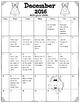 PK/Kindergarten  Homework Calendar ~ December (Free)