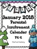 PK/Kindergarten  Homework Calendar ~ January 2018 (Free)