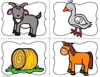 PK/K: Farm Animal Word Matching Cards (Set of 32)