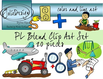 PL Blend Phonics Clip Art Set - Color and Line Art 20 pc set