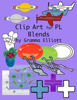 PL Blends Clip Art Phonics Semi Realistic Clip Art Color and Black Line
