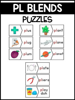 PL Blends Phonics Center:  Picture and Word Match Puzzles