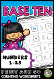 TENS AND ONES PLACE VALUE WORKSHEETS 1ST GRADE ACTIVITIES (NUMBERS 1-25)
