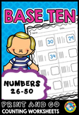 TENS AND ONES PLACE VALUE WORKSHEETS 1ST GRADE ACTIVITIES (NUMBERS TO 50)