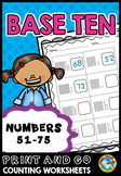 TENS AND ONES PLACE VALUE WORKSHEETS 1ST GRADE ACTIVITIES (NUMBERS 51-75)