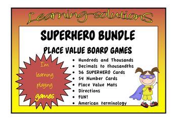 PLACE VALUE BUNDLE - Hundreds/Thousands/Decimals - SUPERHERO Game - USA Version