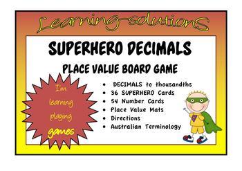 PLACE VALUE - DECIMALS - SUPERHERO - Board Game - Australian Terminology