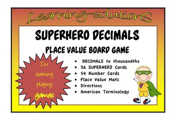 PLACE VALUE - DECIMALS - SUPERHERO Board Game - USA Terminology