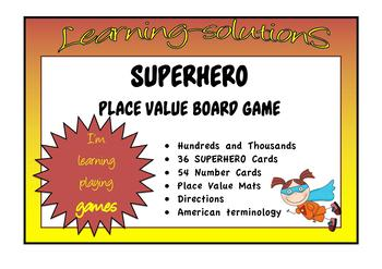 PLACE VALUE - Hundreds and Thousands - SUPERHERO Game - USA Terminology