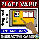 BOOM CARDS MATH PLACE VALUE GAME (BASE TEN BLOCKS DIGITAL CENTER) TENS AND ONES