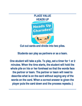 PLACE VALUE HEADS UP GAME